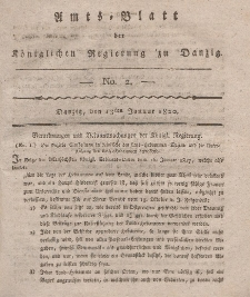 Amts-Blatt der Königlichen Regierung zu Danzig, 13. Januar 1820, Nr. 2