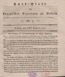 Amts-Blatt der Königlichen Regierung zu Danzig, 20. Januar 1820, Nr. 3