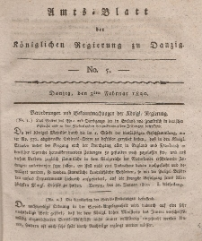 Amts-Blatt der Königlichen Regierung zu Danzig, 3. Februar 1820, Nr. 5