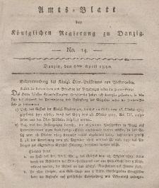 Amts-Blatt der Königlichen Regierung zu Danzig, 6. April 1820, Nr. 14