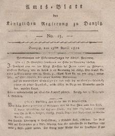 Amts-Blatt der Königlichen Regierung zu Danzig, 13. April 1820, Nr. 15