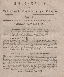 Amts-Blatt der Königlichen Regierung zu Danzig, 4. Mai 1820, Nr. 18