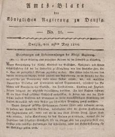 Amts-Blatt der Königlichen Regierung zu Danzig, 25. Mai 1820, Nr. 21