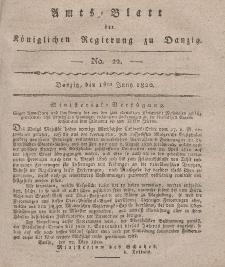Amts-Blatt der Königlichen Regierung zu Danzig, 1. Juni 1820, Nr. 22
