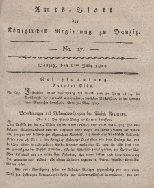 Amts-Blatt der Königlichen Regierung zu Danzig, 6. Juli 1820, Nr. 27
