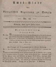 Amts-Blatt der Königlichen Regierung zu Danzig, 13. Juli 1820, Nr. 28
