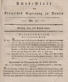 Amts-Blatt der Königlichen Regierung zu Danzig, 3. August 1820, Nr. 31