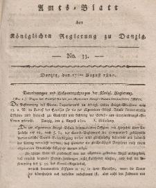 Amts-Blatt der Königlichen Regierung zu Danzig, 17. August 1820, Nr. 33