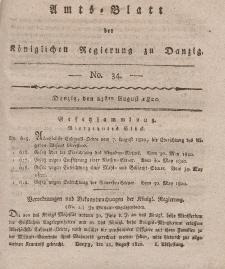 Amts-Blatt der Königlichen Regierung zu Danzig, 24. August 1820, Nr. 34