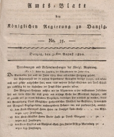 Amts-Blatt der Königlichen Regierung zu Danzig, 31. August 1820, Nr. 35