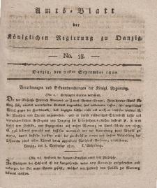 Amts-Blatt der Königlichen Regierung zu Danzig, 21. September 1820, Nr. 38