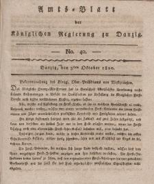 Amts-Blatt der Königlichen Regierung zu Danzig, 5. Oktober 1820, Nr. 40