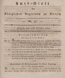 Amts-Blatt der Königlichen Regierung zu Danzig, 12. Oktober 1820, Nr. 41