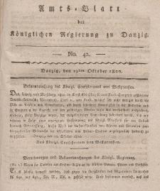 Amts-Blatt der Königlichen Regierung zu Danzig, 19. Oktober 1820, Nr. 42