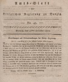 Amts-Blatt der Königlichen Regierung zu Danzig, 26. Oktober 1820, Nr. 43