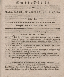 Amts-Blatt der Königlichen Regierung zu Danzig, 2. November 1820, Nr. 44