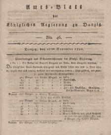 Amts-Blatt der Königlichen Regierung zu Danzig, 16. November 1820, Nr. 46