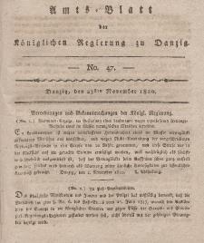 Amts-Blatt der Königlichen Regierung zu Danzig, 23. November 1820, Nr. 47