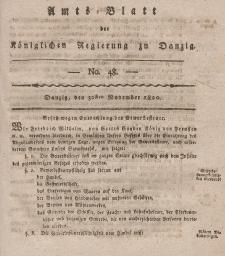 Amts-Blatt der Königlichen Regierung zu Danzig, 30. November 1820, Nr. 48