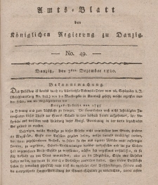 Amts-Blatt der Königlichen Regierung zu Danzig, 7. Dezember 1820, Nr. 49