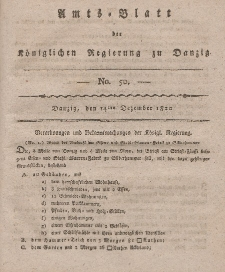 Amts-Blatt der Königlichen Regierung zu Danzig, 14. Dezember 1820, Nr. 50