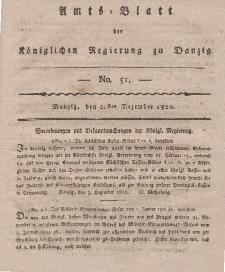 Amts-Blatt der Königlichen Regierung zu Danzig, 21. Dezember 1820, Nr. 51