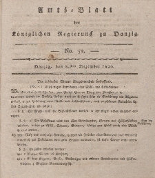 Amts-Blatt der Königlichen Regierung zu Danzig, 28. Dezember 1820, Nr. 52