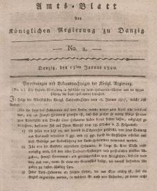 Amts-Blatt der Königlichen Regierung zu Danzig, 13. Januar 1821, Nr. 2