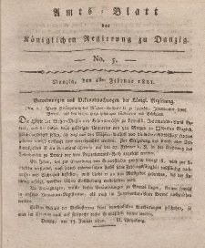 Amts-Blatt der Königlichen Regierung zu Danzig, 1. Februar 1821, Nr. 5