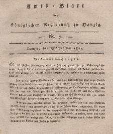 Amts-Blatt der Königlichen Regierung zu Danzig, 15. Februar 1821, Nr. 7