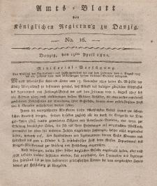 Amts-Blatt der Königlichen Regierung zu Danzig, 19. April 1821, Nr. 16