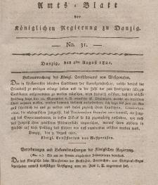 Amts-Blatt der Königlichen Regierung zu Danzig, 2. August 1821, Nr. 31