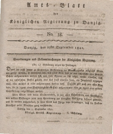 Amts-Blatt der Königlichen Regierung zu Danzig, 20. September 1821, Nr. 38