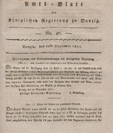 Amts-Blatt der Königlichen Regierung zu Danzig, 22. November 1821, Nr. 47