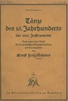 Tänze des 16. Jahrhunderts für vier Instrumente
