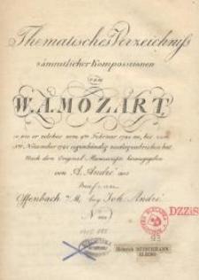 Thematisches Verzeichnis sämtlicher Kompositionen von Mozart