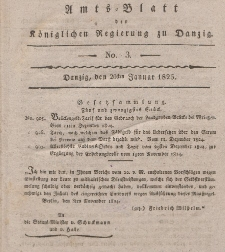 Amts-Blatt der Königlichen Regierung zu Danzig, 20. Januar 1825, Nr. 3
