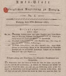 Amts-Blatt der Königlichen Regierung zu Danzig, 27. Januar 1825, Nr. 4