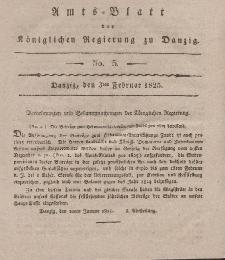 Amts-Blatt der Königlichen Regierung zu Danzig, 3. Februar 1825, Nr. 5