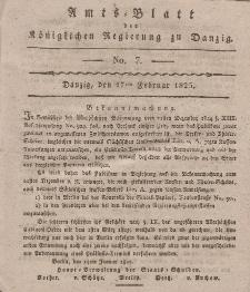 Amts-Blatt der Königlichen Regierung zu Danzig, 17. Februar 1825, Nr. 7