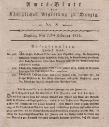 Amts-Blatt der Königlichen Regierung zu Danzig, 24. Februar 1825, Nr. 8