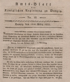 Amts-Blatt der Königlichen Regierung zu Danzig, 10. März 1825, Nr. 10