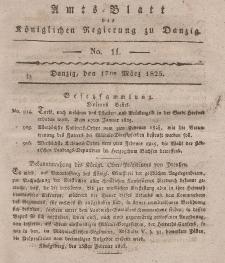 Amts-Blatt der Königlichen Regierung zu Danzig, 17. März 1825, Nr. 11