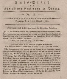 Amts-Blatt der Königlichen Regierung zu Danzig, 14. April 1825, Nr. 15