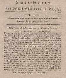 Amts-Blatt der Königlichen Regierung zu Danzig, 20. April 1825, Nr. 16