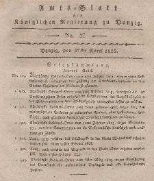 Amts-Blatt der Königlichen Regierung zu Danzig, 27. April 1825, Nr. 17