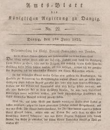 Amts-Blatt der Königlichen Regierung zu Danzig, 1. Juni 1825, Nr. 22