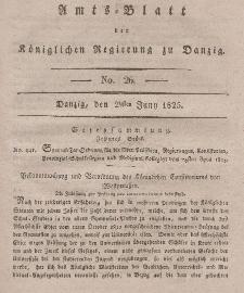 Amts-Blatt der Königlichen Regierung zu Danzig, 29. Juni 1825, Nr. 26