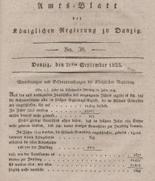 Amts-Blatt der Königlichen Regierung zu Danzig, 21. September 1825, Nr. 38