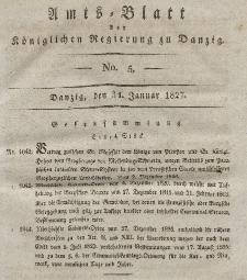 Amts-Blatt der Königlichen Regierung zu Danzig, 31. Januar 1827, Nr. 5